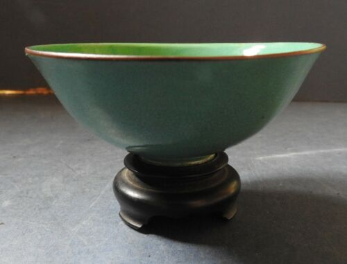 CHINESE GREEN GLAZED PORCELAIN BOWL ON WOODEN STAND - 19TH CENTURY