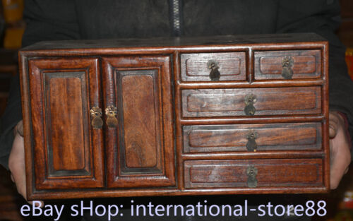 """16"""" Old China Dynasty Huanghuali Wood Hand Carved 5 drawer cupboard cabinet"""