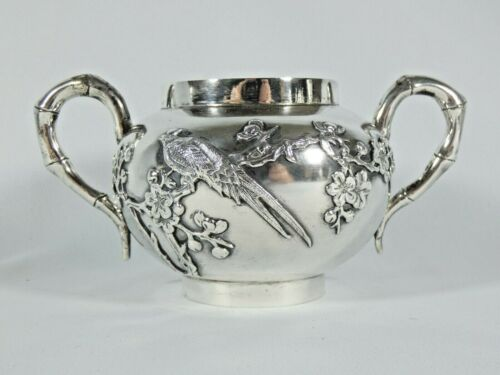 Antique 1900 Sing Fat Chinese Export Sterling Silver Sugar Bowl Bamboo Pheasant