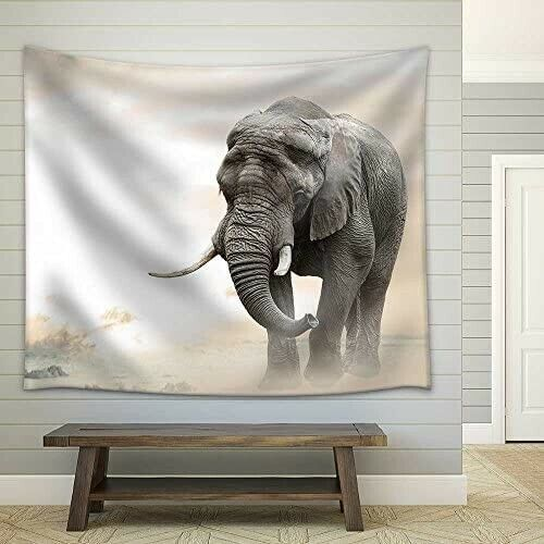 """African Elephant Walking Alone - Graphic - LARGE Print - 60"""" L x 51"""" H"""