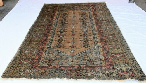ANTIQUE HAND KNOTTED WOOL TURKISH GHIORDES PILE RUG CIRCA 1920'S