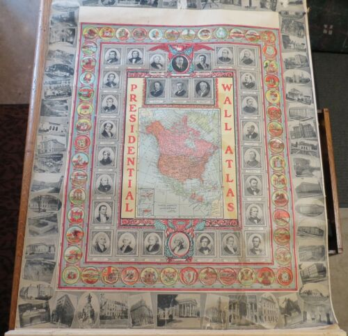ANTIQUE PRESIDENTIAL WALL ATLAS school - c.1920 3PG/with Large Wisconsin map