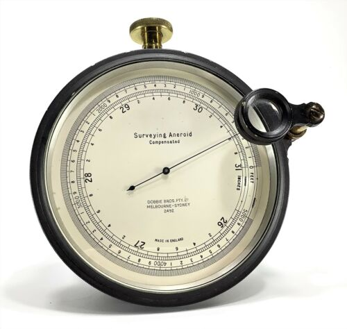 Antique Surveying Compensated Aneroid Barometer in Excellent Condition with Case