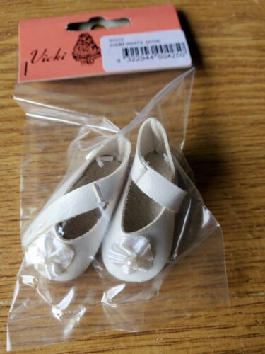 5cm white Doll Shoes mary janes with rosette 1 Pair