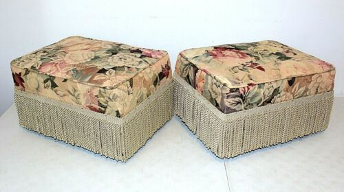 Vintage FLORAL Upholstered FOOTSTOOL Ottoman w/FRINGE Country Cottage, 2 Avail