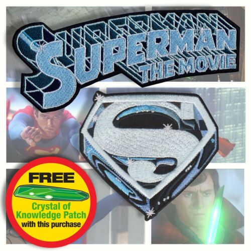 """""""SUPERMAN the Movie"""" style Title and """"S"""" emblem embroidered iron-on3-5"""" patches"""