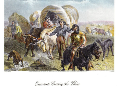 """"""" Emmigrants Crossing the Plains"""" 1874   by FOC Darley   > Reproduction"""