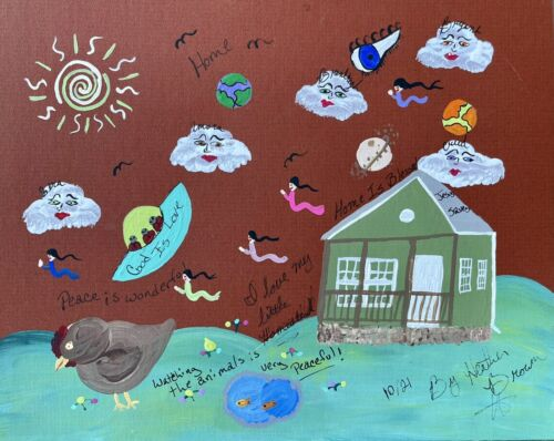 """Howard Finster's Granddaughter, Heather's Painting Of """"Home"""""""