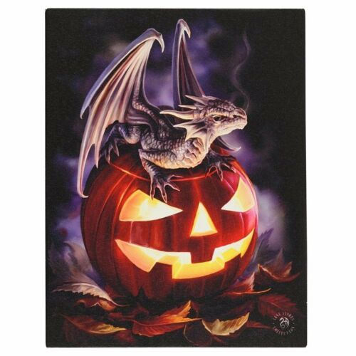 Trick or Treat Canvas Plaque by Anne Stokes 25cm by 19cm - Something Different