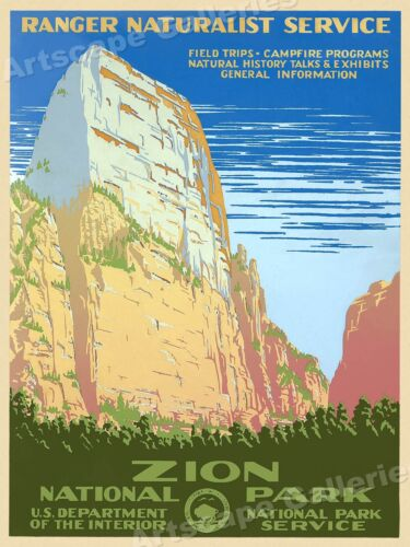 "1930s ""Zion National Park"" Vintage Style WPA Travel Poster - 20x28"