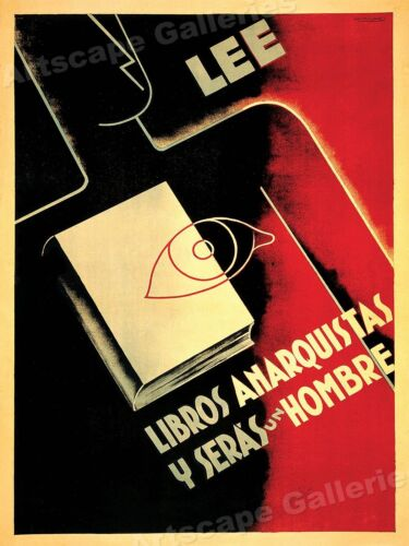 1930s Spanish Civil War Poster  Read Anarchist Books and You Will be a Man 20x28Art Posters - 28009
