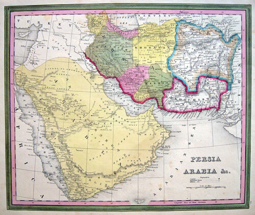 1846 Persia ARABIA Afghanistan IRAQ * TANNER ORIGINAL ANTIQUE MAP VG++