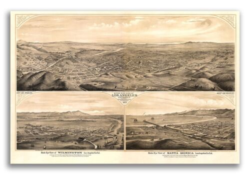 1877 Los Angeles California Vintage Old Panoramic City Map - 20x30