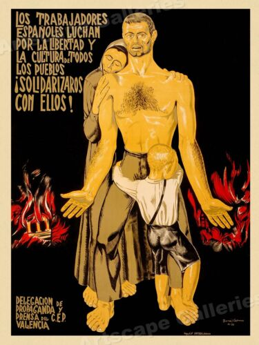 Spanish Workers Fight! 1930s Spanish Civil War Poster - 24x32Art Posters - 28009