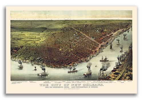 1885 New Orleans Lousiana Vintage Old Panoramic City Map - 16x24