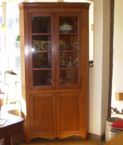Antique Cherry Corner Cabinet with Glass Doors and Key Locks Circa 1880's