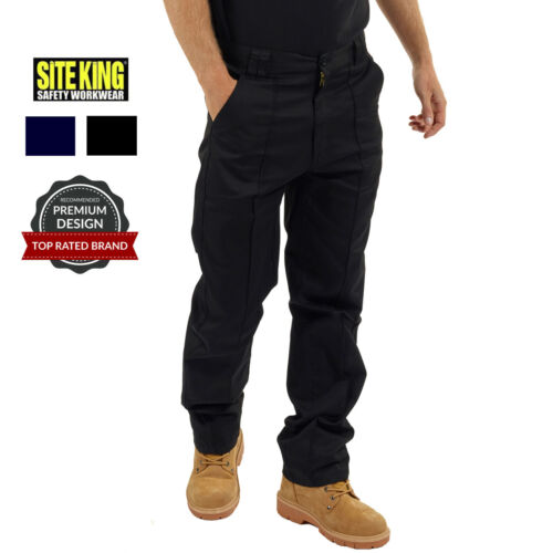 Mens Classic Work Trousers Size 28 to 56 in Black or Navy By SITE KING - 001 <br/> GENUINE SITE KING BRANDED TROUSERS