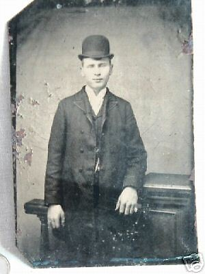 antique photo tintype victorian gent in bowler hat LOOK