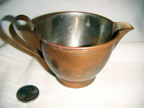 early american copper creamer tinned interior manning bowman Meriden Conn.113