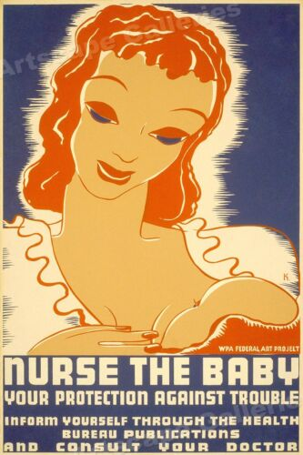 """1930s New Mother """"Nurse the Baby"""" Vintage WPA Health Poster - 16x24"""