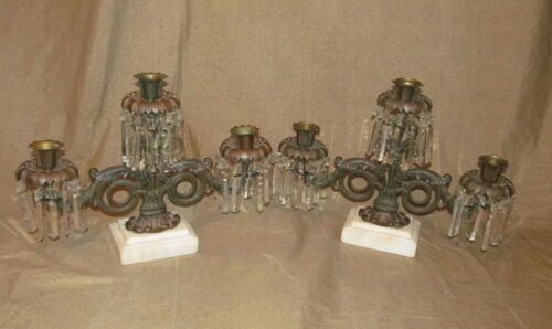 Pair Antique American Empire or Classical Period Candelabra Girondles