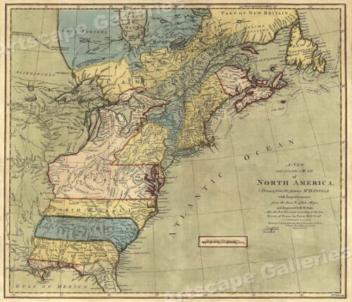 1771 Early American 13 Colonies - East Coast Map - 24x28
