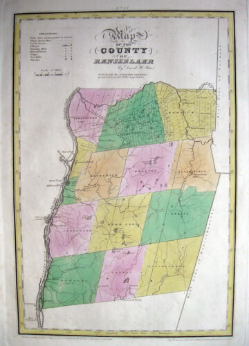 """1829 RENSSELAER COUNTY, NY * DAVID BURR 18½x12½ """" ORIGINAL copperplate engraving"""