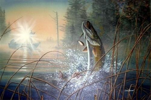 Waking the Giant Muskie Print By Jim Hansel Signed and Numbered