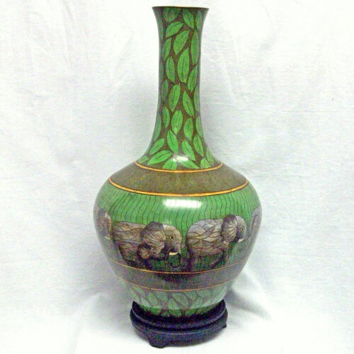 Rare and Unique Tall Large BRONZE HANDMADE Green Elephant CLOISONNE VASE w stand