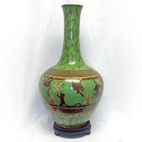 Rare and Unique Tall Large BRONZE HANDMADE Green CLOISONNE MONKEY VASE w/ stand