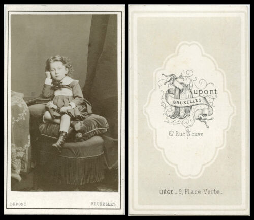 ANTIQUE CDV PHOTO PORTRAIT OF CHARMING LITTLE GIRL & BRUXELLES, BELGIUM STUDIO