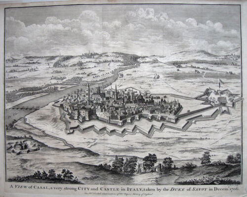 1745 CASAL City View ITALY * TINDAL 38x48cm ORIGINAL Copperplate Engraving
