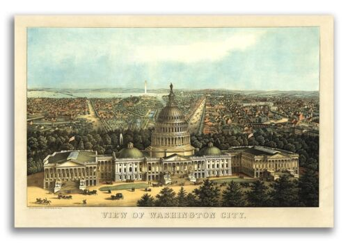 Washington DC 1871 Historic Panoramic Town Map - 16x24