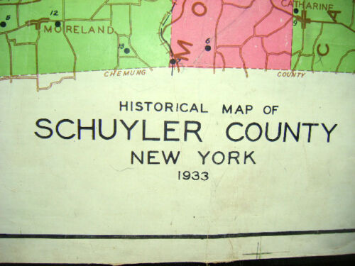 1933 historical map Schuyler County N.Y. (Hanging school type colored cloth map)