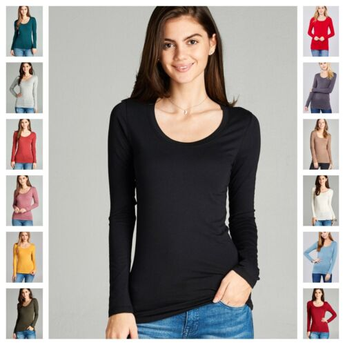 WOMEN BASIC SCOOP NECK LONG SLEEVE FITTED TOP STRETCH T SHIRT REG N PLUS S-3X