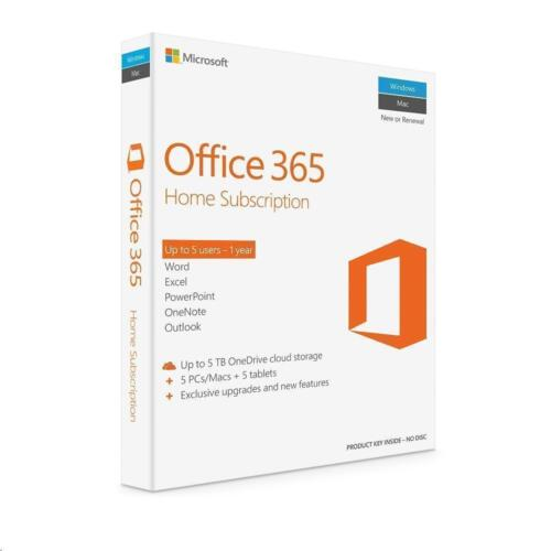 Microsoft Office 365 Home Word Excel PowerPoint Outlook 5 PC Mac + 5 Tabs 1 Year