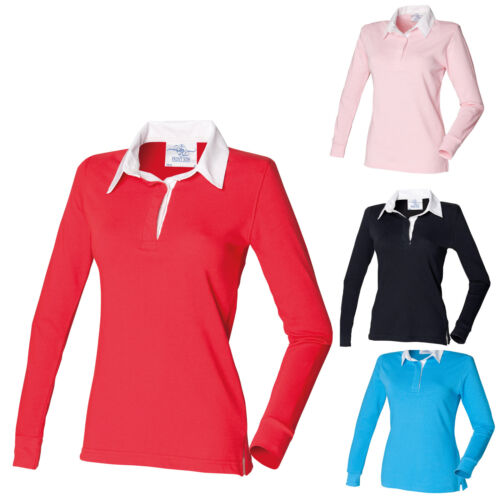 Front Row Classic Ladies Fitted Rugby Shirt Long Sleeved 100% Cotton S 3XL 4XL