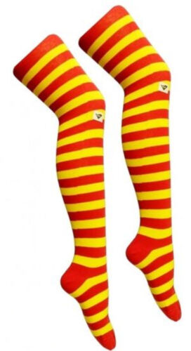 Ladies Over The Knee Red And Yellow Stripy Stripey Socks Sox Espanol Spain Party