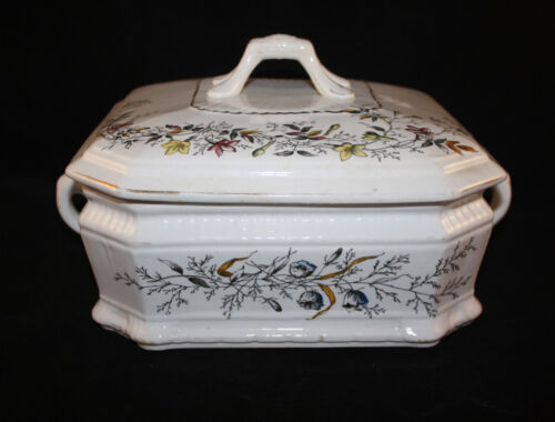 VICTORIAN T.G& F.BOOTH, ENGLAND JASMINE PATTERN SQUARE HANDLED TUREEN