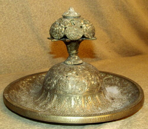 Antique Asian Oriental India Brass Inkwell