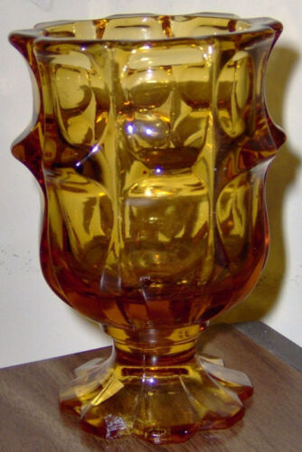 "vintage AMBER GOLD VIKING GLASS FLOWER VASE 5"" GOBLET CANDY DISH"