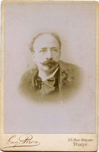 ANTIQUE CABINET PHOTO OF  A MAN WITH GREAT MUSTACHE BY EUGENE PIROU, PARIS