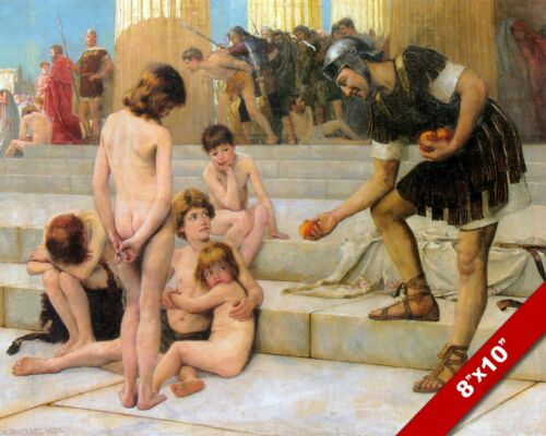 ROMAN SOLDIER & SLAVES CAPTIVES IN ROME BARTLETT PAINTING REAL CANVAS ART PRINT