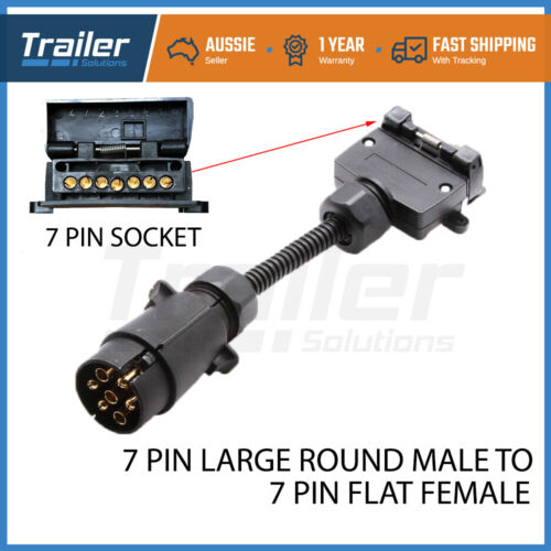 7 Pin Round Male Plug to 7 Pin Flat Female Socket Adaptor Trailer Connector