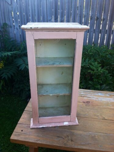 """Antique Primitive Medicine """"Display"""" cabinet glass front PinK paint  shabby&NICE"""