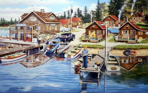 "Ken Zylla Timber Lodge Fishing and Boating Art Print  21.5"" x 13.5"""