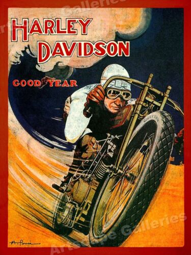 1920s Harley Davidson Classic Motorcycle Dirt Track Racing Poster - 20x28