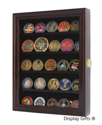 LOCKABLE Military Challenge Coin Display Case Cabinet Pin Medal Shadow BoxChallenge Coins - 74710