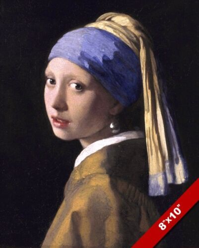 REAL CANVAS VERMEER GIRL WITH A PEARL EARRING PAINTING GICLEE 8X10 ART PRINT