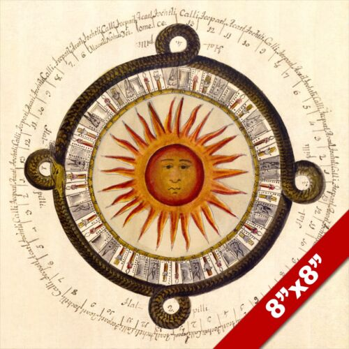 AZTEC SUN CALENDAR STONE FOUND IN MEXICAN PLAZA REAL CANVAS GICLEE 8X8 ART PRINT